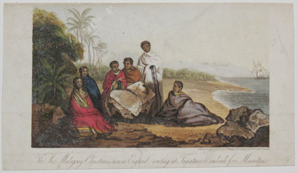 The Six Malagasy Christians (now in England) waiting at Tamatave to embark for Mauritius.