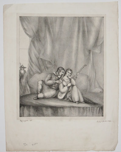 [Amateur lithograph of lovers.]