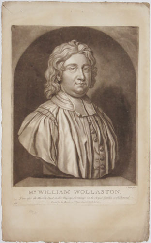 Mr. William Wollaston.  Done after the Marble Bust, in Her Majesty's Hermitage in the Royal Garden at Richmond.