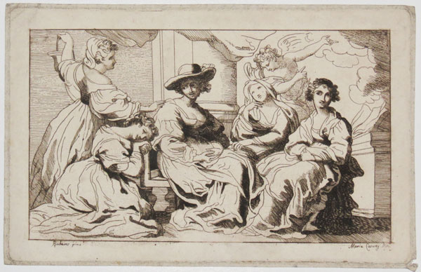 [Group of Women, including Helene Foument?, with an angel.]