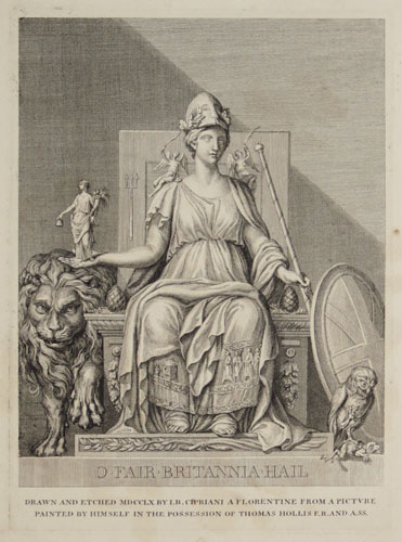 [Britannia flanked by owl and lion]
