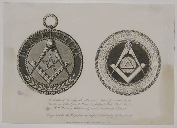 A Sketch of the Superb Masonic Jewel presented by the Brethern of the Grand Stewards Lodge to their Past Master the R.W. William Williams Grand Master for Dorset.