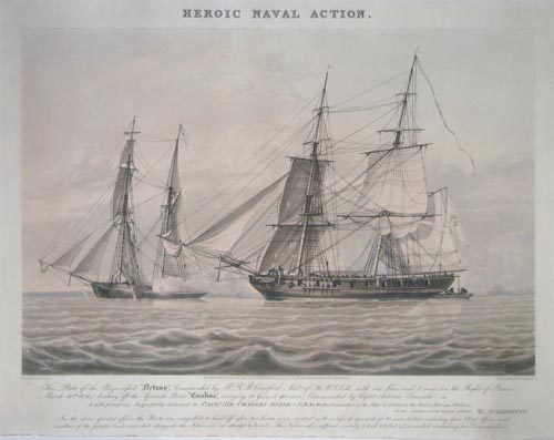 Heroic Naval Action. This Plate of the Prize vesel 'Netuno', Commanded by Mr. R.B.Crawford, Mid.n of H.M.S. Esk, with one Gun and 5 men (in the Bight of Benin, March 20th 1826) beating off the Spanish Pirate 'Carolina',