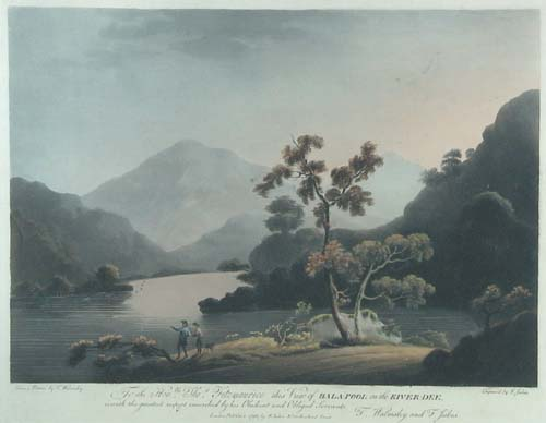 To the Hon.ble Thos. Fitzmaurice this view of Bala-Pool on the River-Dee is with great respect inscribed by his Obedient and Obliged Servants T.Walmsley and F.Jukes.