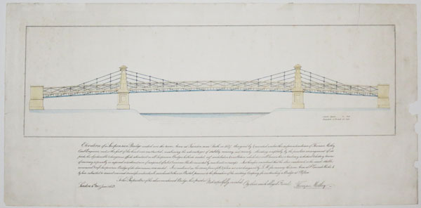 Elevation of a Suspension Bridge reected over the river Avon at Tiverton [Twerton] near Bath in 1837,