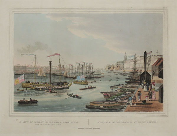 A View of London Bridge and Custom House With the Margate Steam Yachts.