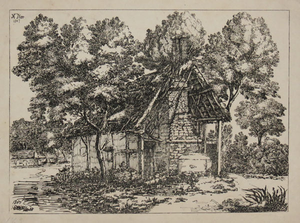 [Thatched cottage in a landscape]