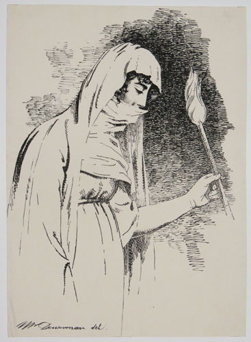 [Woman wearing gown and holding torch]