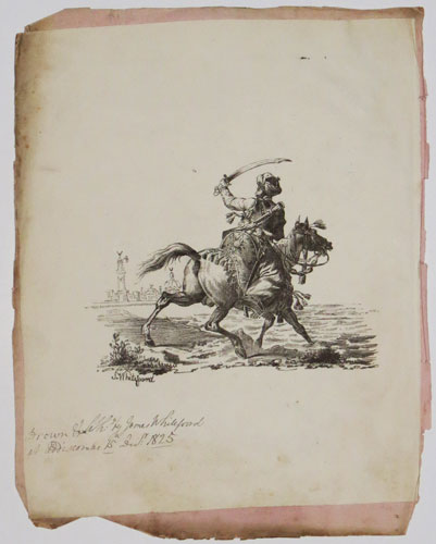 [Ottoman warrior on horseback with sword brandished.]