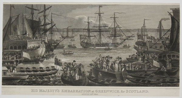 His Majesty's Embarkation at Greenwich, for Scotland.
