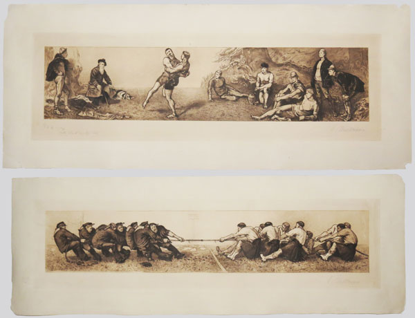 [A Tug of War - Army v. Navy.] [&] [Wrestling.]