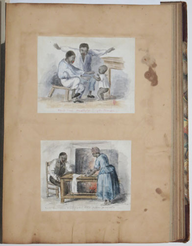 [A scrapbook containing various prints, watercolours and sketches.]
