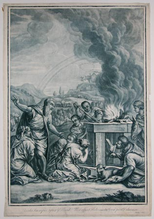 Noahs Sacrifice after ye Flood. Noe offert Holocausta Iovoe post Deluvium.