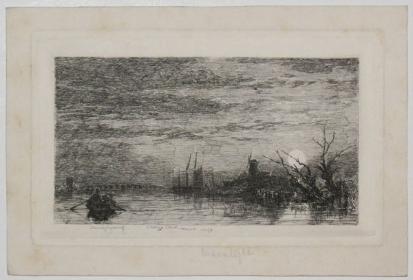 [Moonlit river scene with rowing boat]