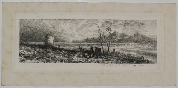 [Landscape with figures; river and moutnains in distance]
