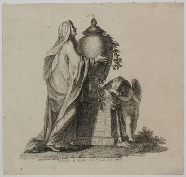 [Woman mourning and embracing a tomb in the form of a pot]