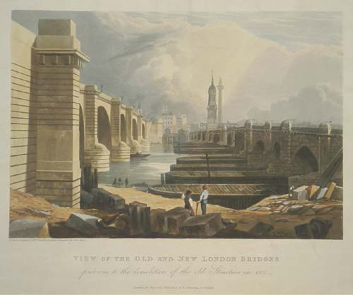 View of the Old and New London Bridges Previous to the Demolition of the old Structure in 1832.