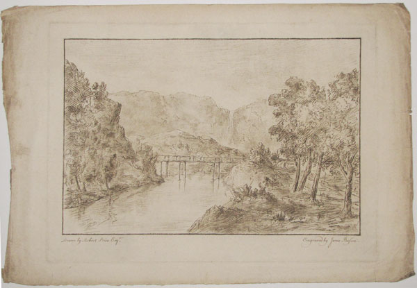 [Untitled landscape with waterfall and wooden bridge, Wales]