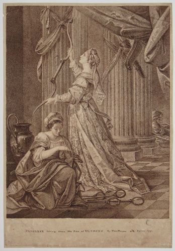 [Set of three prints in various states.] Penelope taking down the Bow of Ulysses.