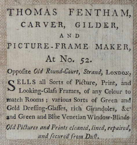 [Framers.] Thomas Fentham, Carver, Gilder and Picture-Frame Maker, at No. 52. Opposite Old Round-Court, Strand, London,