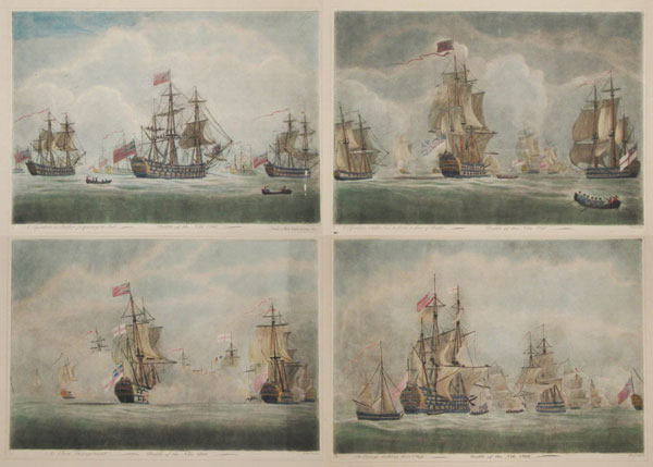 A Squadron at Anchor Preparing to Sail. [&] A Squadron under Sail to Form a Sine of Battle. [&] A Close Engagment. [&] The Enemy Strikeing their Flags.