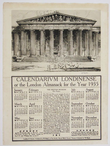 Calendarium Londinense or the London Almanack for the Year 1935. The British Museum. The Portico.