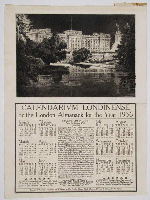 Calendarium Londinense or the London Almanack for the Year 1936. Buckingham Palace From St James's Park (floodlit).
