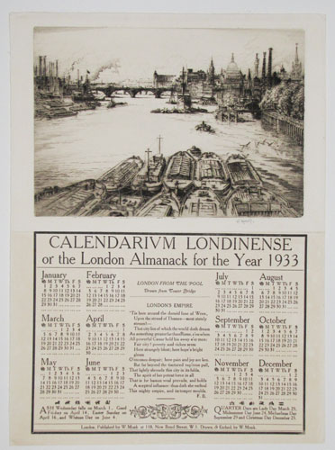 Calendarium Londinense or the London Almanack for the Year 1933. London from the Pool, Drawn from Tower Bridge.