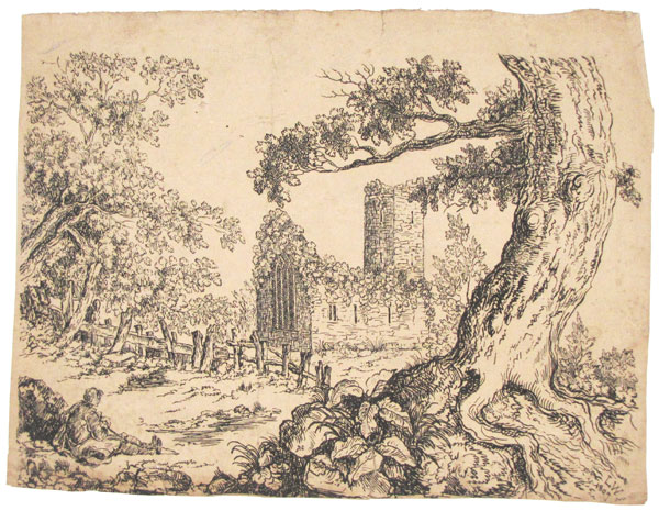[Ruined church in a field with tree and seated figure]
