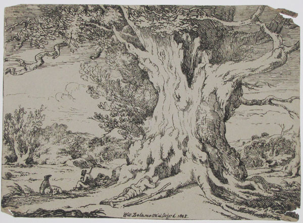 [Tree in a landscape with figures seated by river]