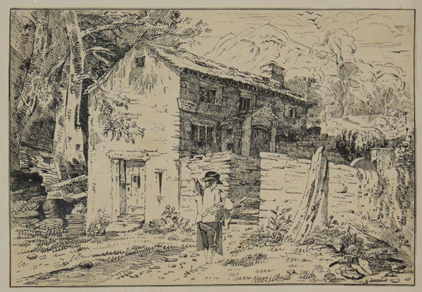 [Country cottage, with homecoming labourer carrying an axe]