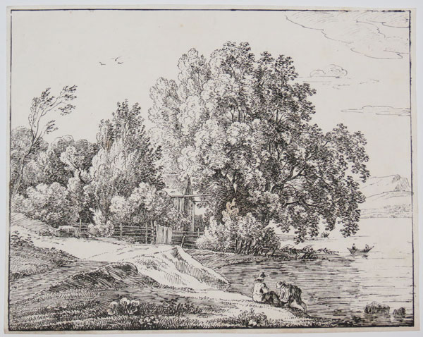 [Landscape with figures by lake, and rowing boat]