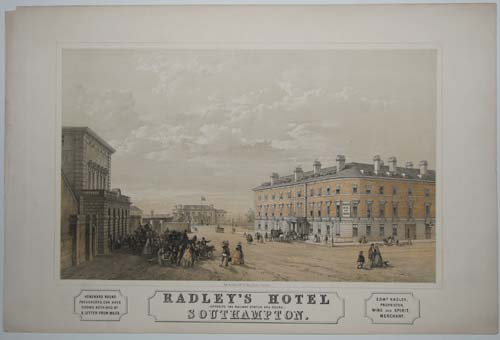 Radley's Hotel [Opposite the Railway Station and Docks] Southampton.  Edwd Radley Proprietor, Wine And Spirit Merchant. Homeward Bound Passengers can have rooms retained by a Letter from Malta.