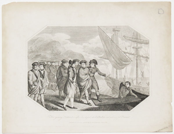 The Young Pretender after his defeat at Culloden embarking for France.