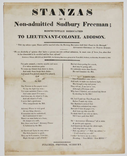 Stanza by a Non-admitted Sudbury Freeman; Respectfully Dedicated to Lieutenant-Colonel Addison.