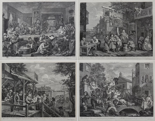 An Election Entertainment. Plate I [&] Canvassing for Votes. Plate II [&] The Polling. Plate III [&] Chairing the Members. Plate IV.