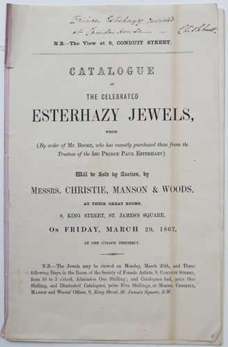 Catalogue of the Celebrated Esterhazy Jewels,