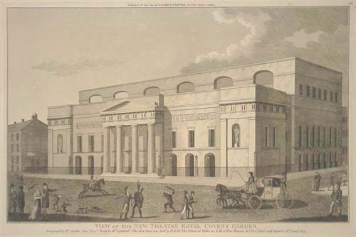 View of the New Theatre Royal, Covent Garden. Designed by R.t Smirke Jun.r Esq.r (Built by Mr. Copeland), The first Stone was laid by H.R.H. The Prince of Wales as G.M. of Free Masons, 31st. Dec.r 1808. and Opened 18th Sept.r 1809.