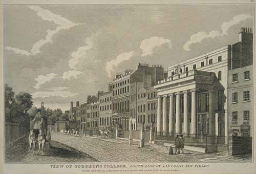 View of Surgeons College, South Side of Lincoln's Inn Fields.