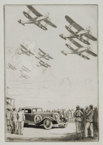 [A Rolls-Royce Company Christmas Card, illustrated Airshow, with flypast of Hawker Harts?]