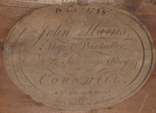 [Pair of frame labels] John Harris, Map & Printseller, No 3. Sweetings Alley, Cornhill. & No 8 Broad Street.