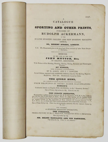 A Catalogue of Sporting and Other Prints, Published by R. Ackermann,
