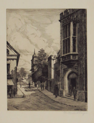 [Rugby School entrance on Hillmorton Road, looking towards the Temple Speech Room.]