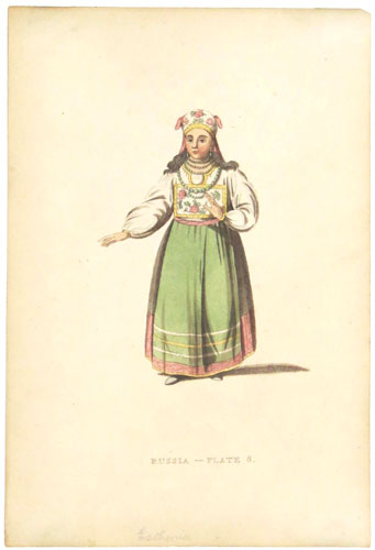 Russia - Plate 6. [ A Woman of Esthonia.]
