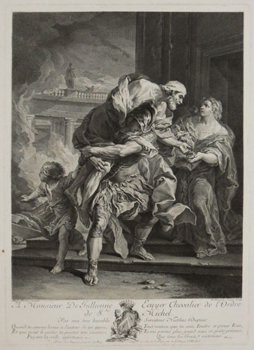 [Aeneas saving his father from the burning of Troy.]