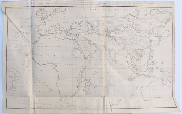 A General Chart, on Mercator's Projection, to Shew the Track of the Lion and Hindostan
