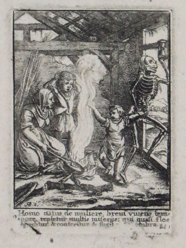 [Skeleton holding hourglass pulling a child away from his family; verses from the Bible below]