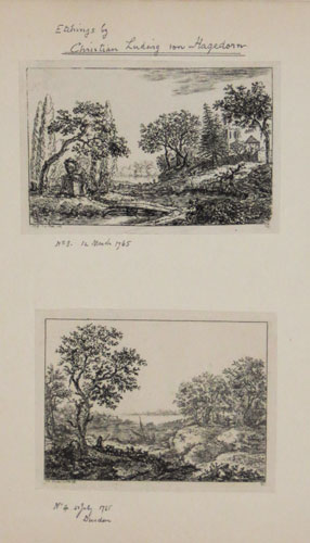 [Five landscape etchings by Christian Ludwig von Hagedorn]