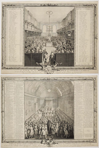 A View of the House of Peers, the King sitting on his Throne, the Commons attending him at the end of ye Session 1741-2 [...]