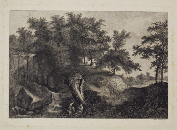 [Landscape with two figures, one playing a pipe]